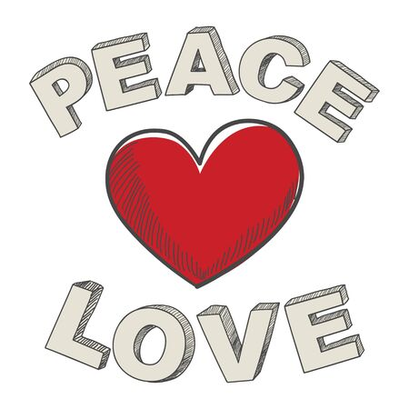 hand writing: Hand writing of peace and love text design with heart symbol