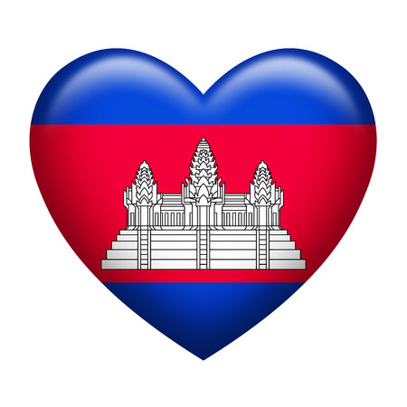 cambodian flag: Heart shape of Cambodia insignia isolated on white