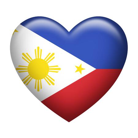 filipino: Heart shape of Philippines insignia isolated on white Stock Photo