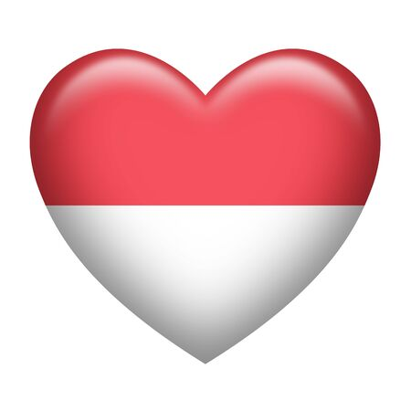 monegasque: Heart shape of Indonesia or Monaco insignia isolated on white Stock Photo