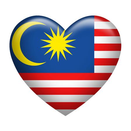 malaysia: Heart shape of Malaysia insignia isolated on white
