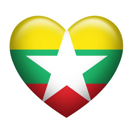 burmese: Heart shape of Myanmar insignia isolated on white Stock Photo