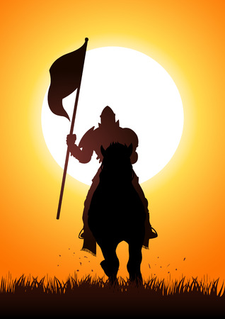Silhouette of a medieval knight on horse carrying a flag Stock Illustratie