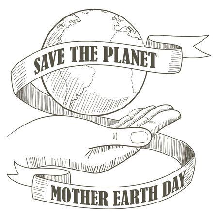 Lijn kunst illustratie van een hand die de planeet Aarde met decoratieve lint en tekst