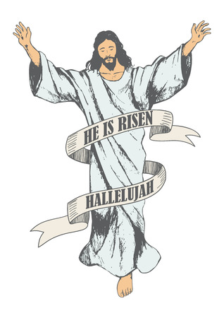 Sketch illustration of the ascension of Jesus Christ Stock Illustratie