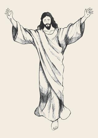 Illustrazione Sketch dell'ascensione di Gesù Cristo Archivio Fotografico - 54909330