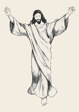 Sketch illustration of the ascension of Jesus Christ Illustration