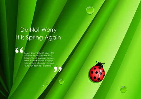 lady beetle: Graphic illustration of a lady bug on green leaves with motivational quotes and copy space
