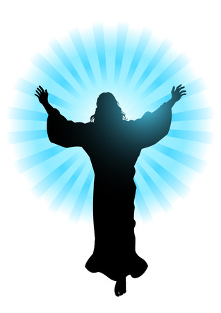 sun worship: Silhouette illustration of Jesus Christ raising His hands, for the ascension day of Jesus Christ theme Illustration