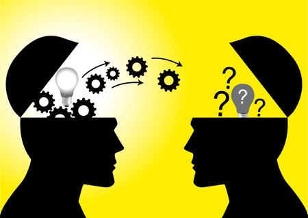 Wissen und Ideen zwischen zwei Menschen Kopf teilen, Transfer von Wissen, Innovation, Brain-Storming Konzept