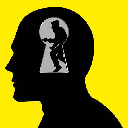 key hole: Silhouette of a thief seen through a key hole inside human head Illustration
