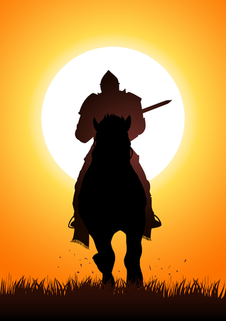 joust: Silhouette of a medieval knight on horse carrying a lance