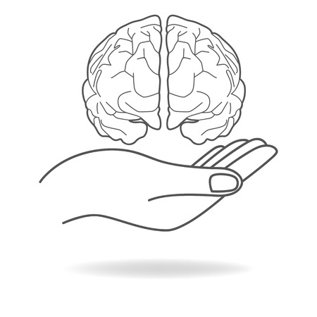 Pictogram van een hand die een menselijk brein