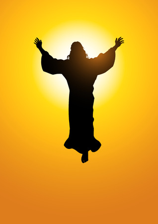 praise god: Silhouette illustration of the ascension of Jesus Christ