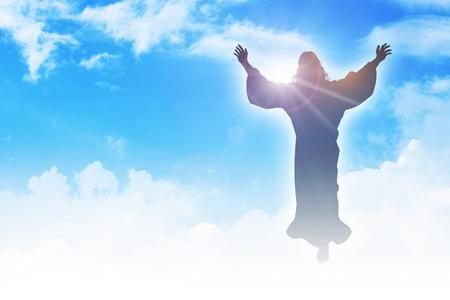 resurrección: Ilustración de la silueta de la ascensión de Jesucristo