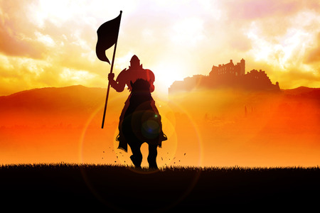 Silhouette of a medieval knight on horse carrying a flag on dramatic scene Stock fotó - 54909515