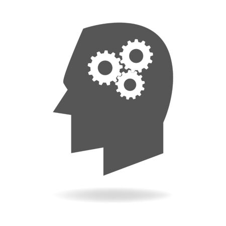 symbolize: Human head icon with gears, symbolize for thinking process