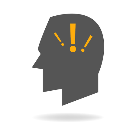 depression: Human head icon with exclamation mark, symbolize of anxiety disorder