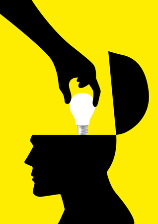 pick: Silhouette of a hand picking up a light bulb from human head, analogy of stealing ideas