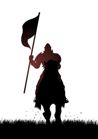 Silhouet van een middeleeuwse ridder te paard die een vlag Stock Illustratie