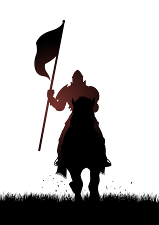 horse warrior: Silhouette of a medieval knight on horse carrying a flag Illustration