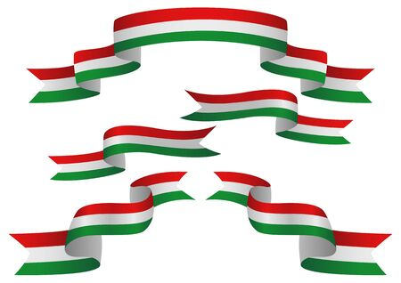 hungarian: Set of Hungary insignia in different shape of ribbons