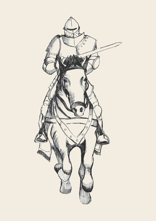 paladin: Sketch illustration of a medieval knight on horse carrying a lance