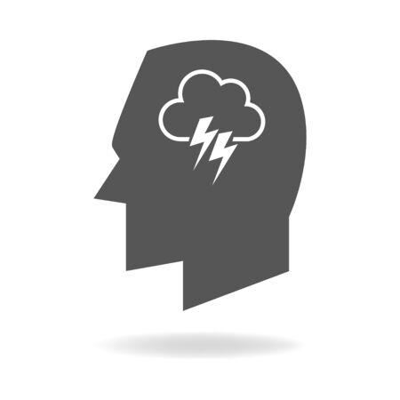 analogy: Human mind concept graphic, cloud with thunder analogy for brainstorming Illustration