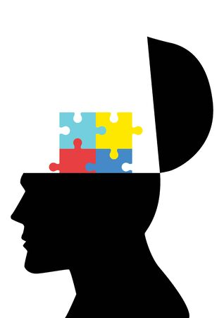 human head: Opened human head silhouette with colorful jigsaw puzzle symbolizing autism
