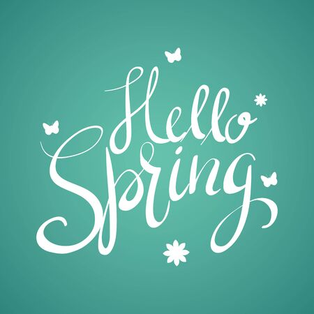 Hand writing of Hello Spring, handwritten, spring theme