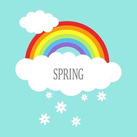 clouds cartoon: Graphic illustration of rainbow with clouds and flowers, spring icon