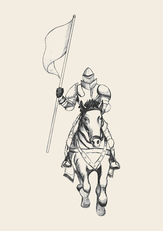 historical: Sketch illustration of a medieval knight on horse carrying a flag Illustration