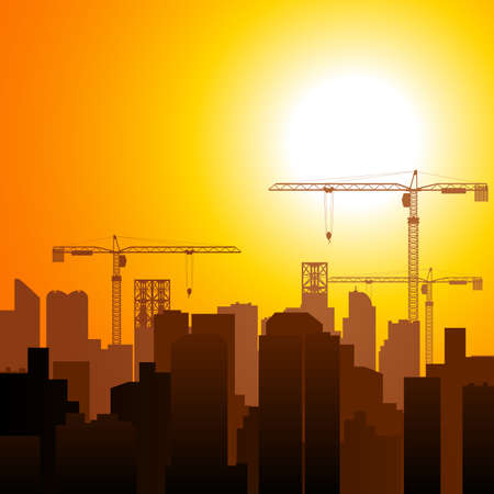 mega city: Graphic illustration of construction cranes and buildings, development, developing, growth, theme