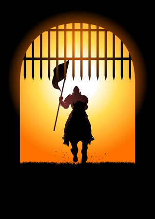 Silhouette of a medieval knight on horse carrying a flag entering the castle gate Stock Illustratie