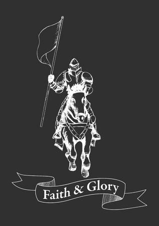 Schets illustratie van een middeleeuwse ridder te paard die een vlag Stock Illustratie