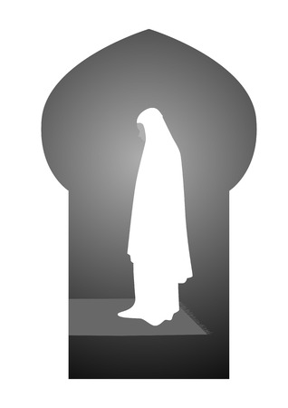 woman praying: Simple graphic of a muslim woman praying
