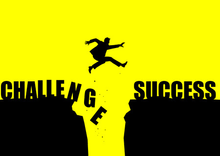 Silhouette illustration of a man jumps over the ravine