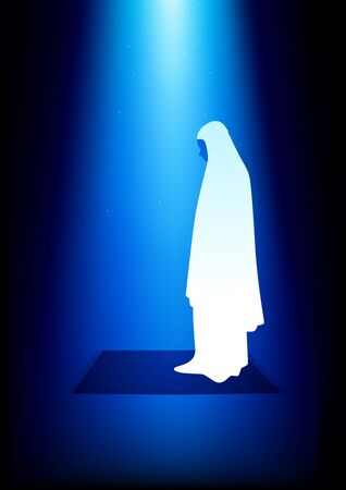 serene people: Simple graphic of a muslim woman praying under peaceful blue light Illustration