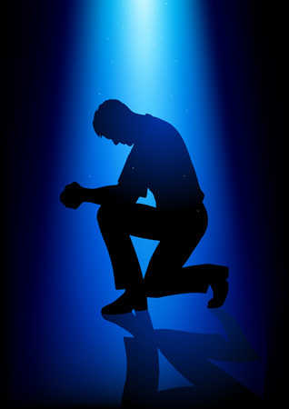 make belief: Silhouette illustration of a man praying under peaceful blue light Illustration