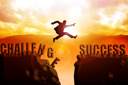 hills: Silhouette illustration of a man jumps over the ravine