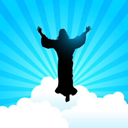 praise and worship: Silhouette illustration of Jesus Christ raising His hands, for the ascension day of Jesus Christ theme Illustration