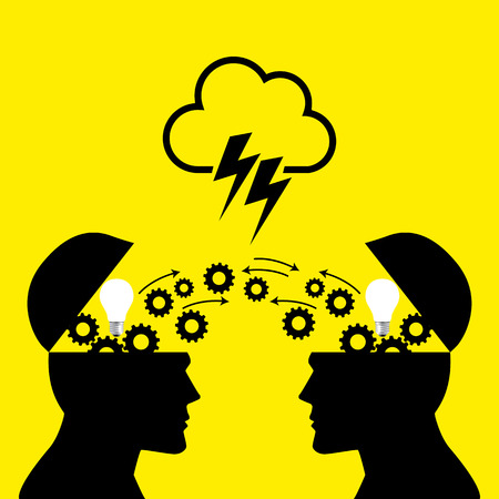 transferring: Knowledge or ideas sharing between two people head, transferring knowledge, innovation, brain storming concept