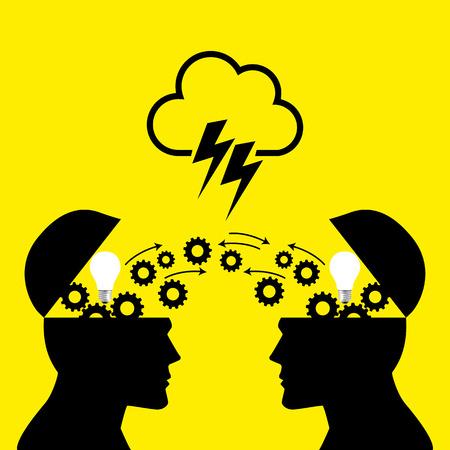 La connaissance ou le partage d'idées entre la tête de deux personnes, le transfert de connaissances, l'innovation, brain storming notion Banque d'images - 56171014
