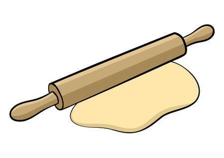 rollingpin: Graphic illustration of a rolling-pin isolated on white Illustration