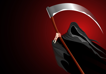 Graphic illustration of a grim reaper on dark background