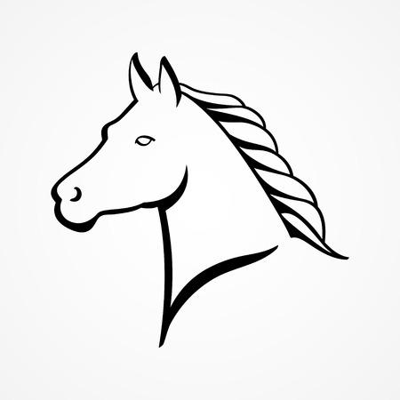 animal head: Line art illustration of a horse head