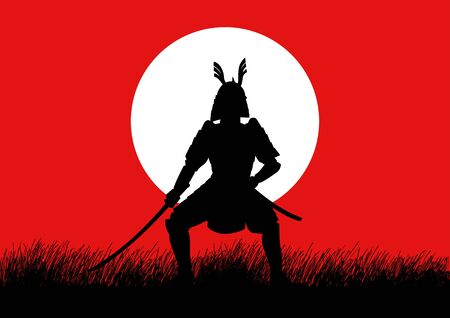 shogun: Silhouette illustration of a Samurai with graphic sun symbol as the background Illustration