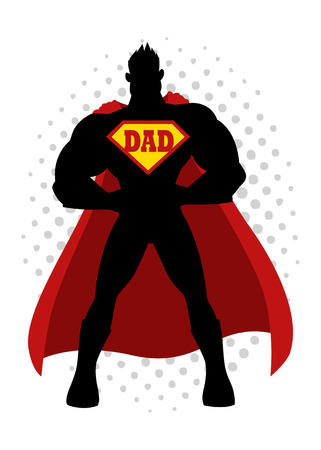 Cartoon silhouette of a superhero with dad symbol on chest