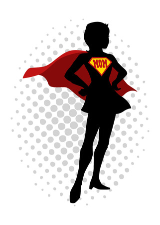 A superheroine standing with the word mom as the symbol Illustration