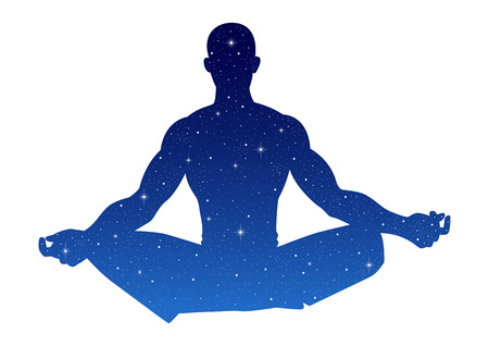 male figure: Silhouette illustration of a male figure meditating with stars texture